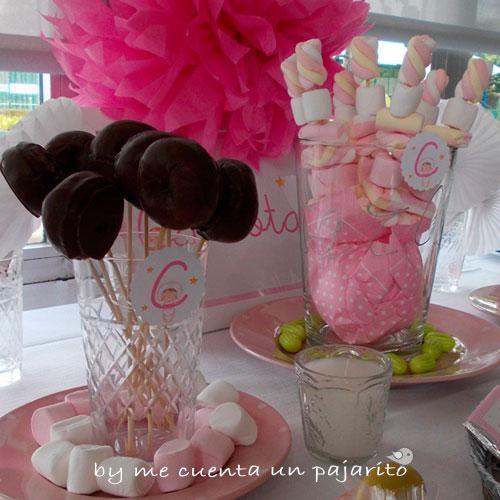 Mesa dulce bautizo de Carlota, chocolatinas