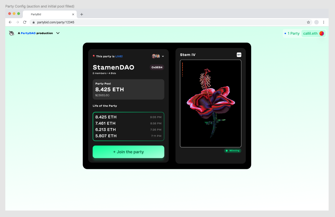 Screenshot of early PartyDAO designs (1/2)
