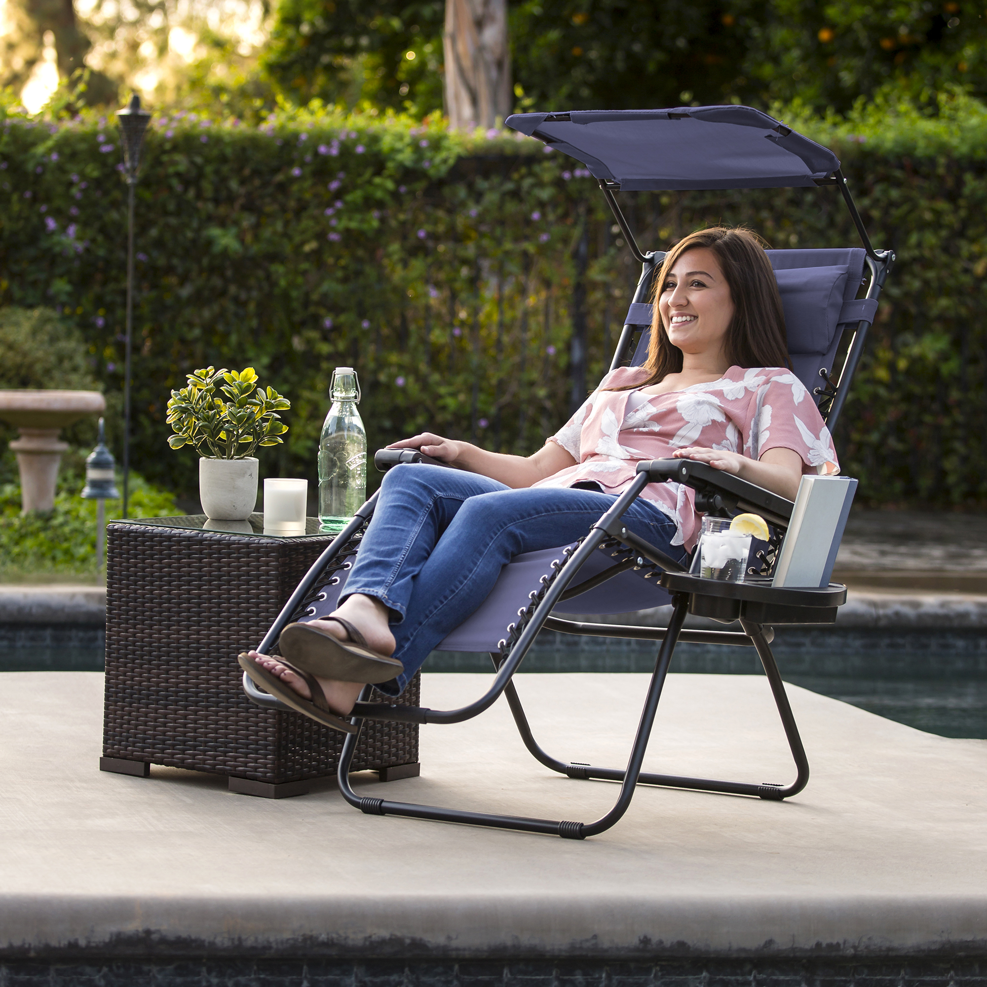 BCP-Folding-Zero-Gravity-Recliner-Lounge-Chair-w-Canopy-Cup-Holder thumbnail 50
