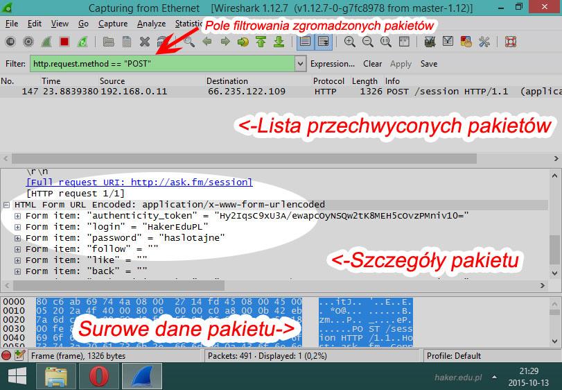 Wireshark okno aplikacji z instrukcją