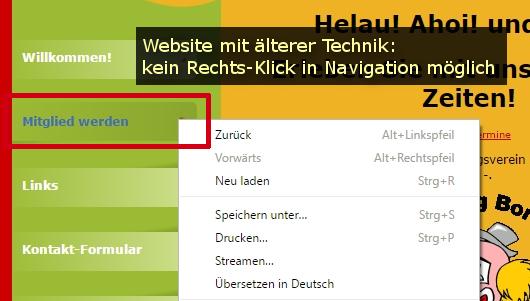 Bei einer vor vielen Jahren von mir erstellten Webseite bietet die Technik keinen Rechtsklick in der Navigation.