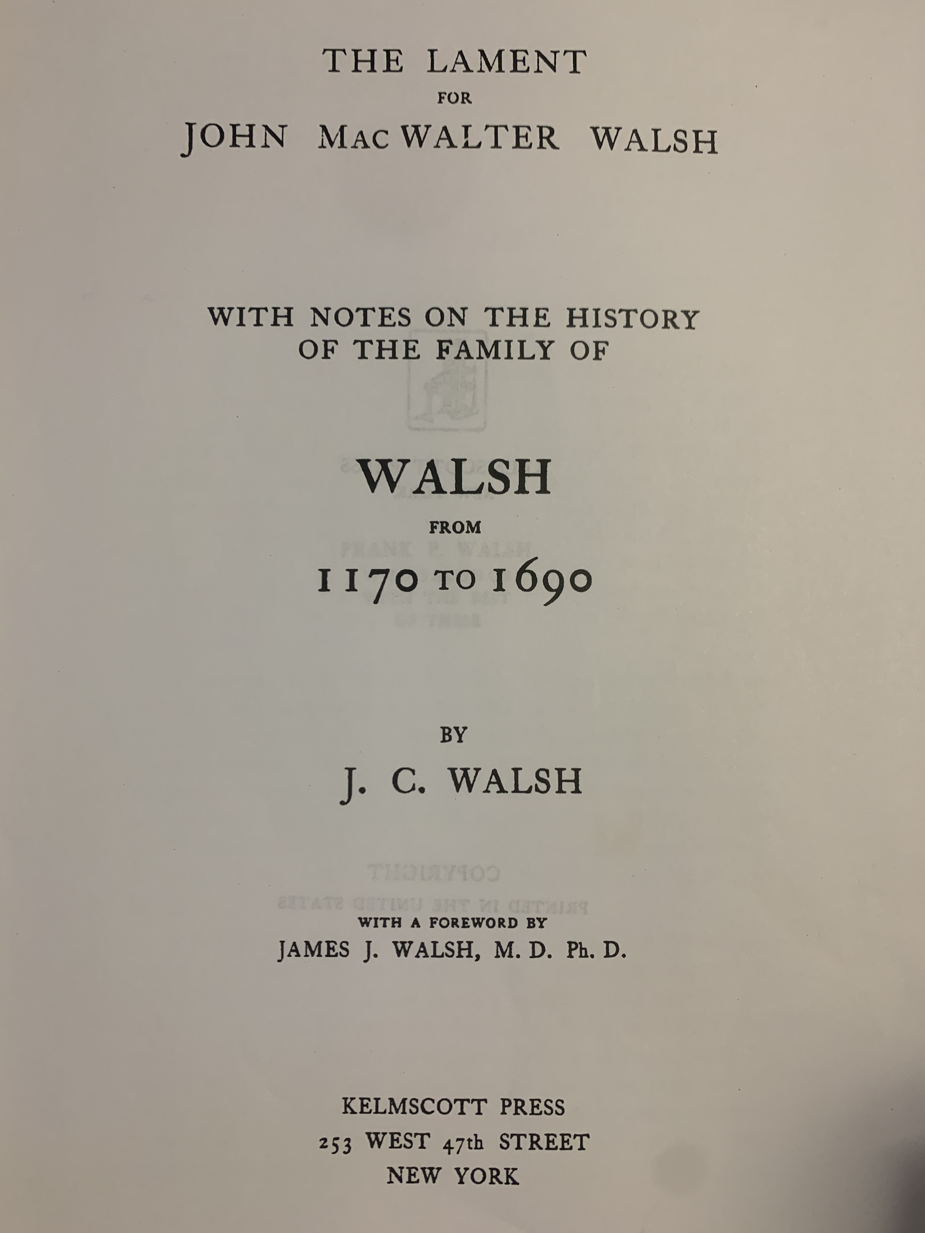 Walsh book Title page