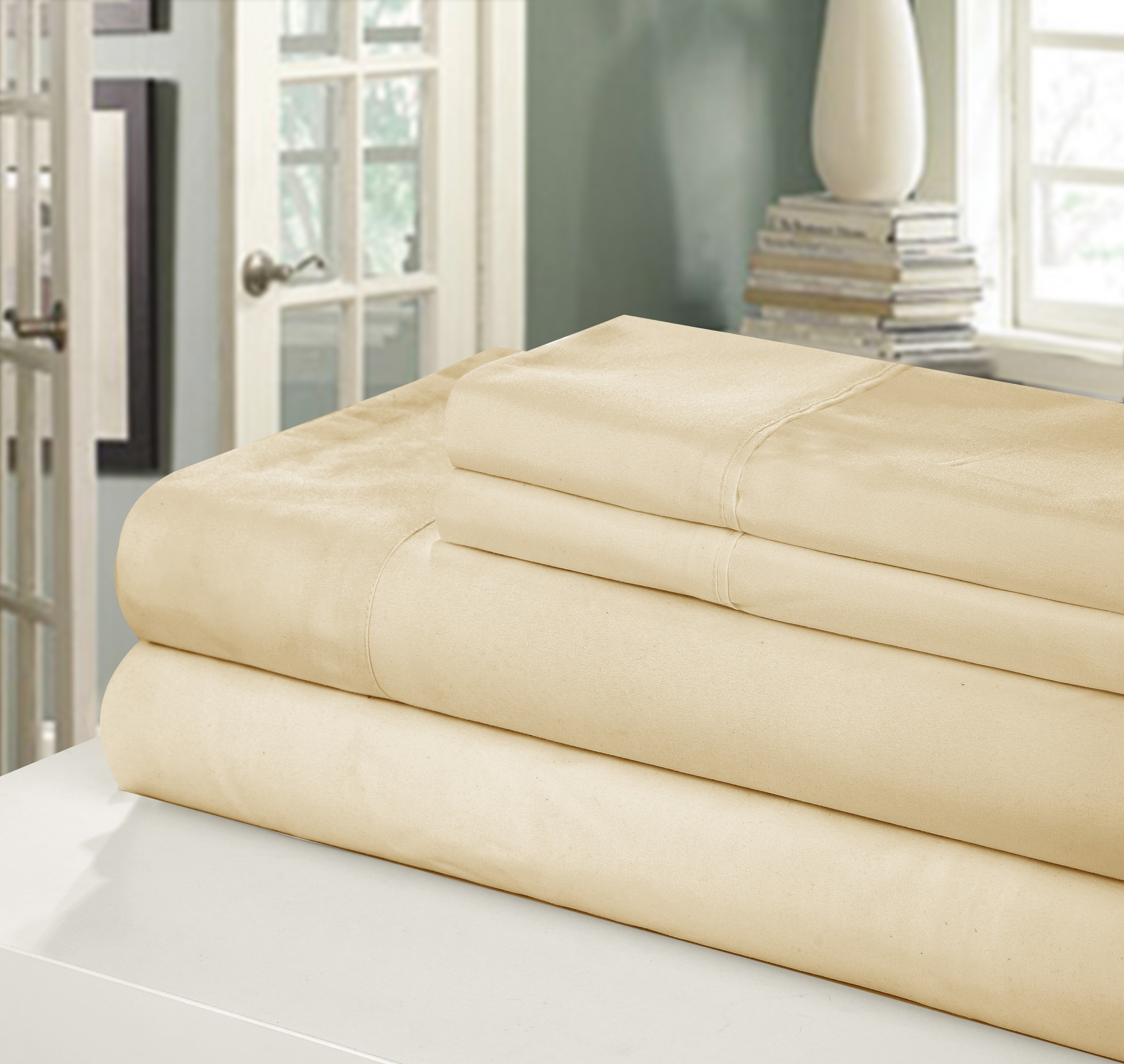 Chic Home NEW!! Chic Home 400 Series Peach Skin Microfiber 4-Piece Sheet Set Ensemble, Queen, Sand