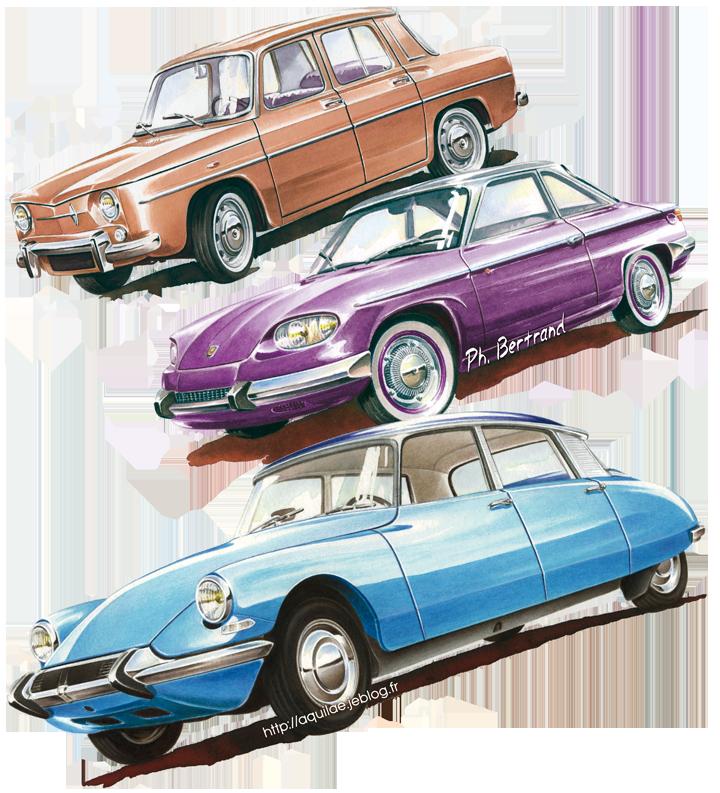 Aquarelles illustrant la Renault R8 Major, la Panhard 24 CT et la Citroën DS 21. Cliquez pour afficher en HD