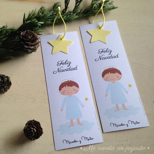 Felicitación de navidad ángel con estrella, marca páginas