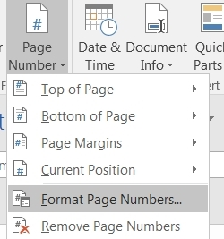 Format page numbers in Word
