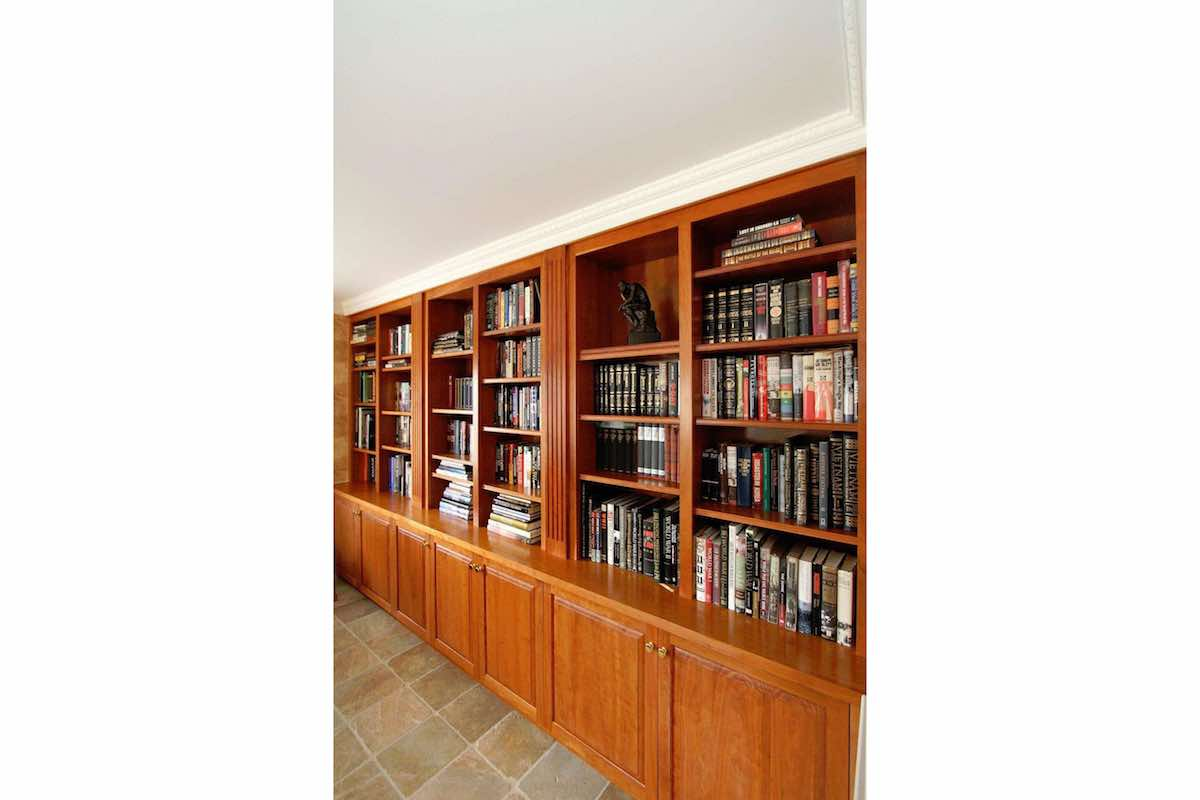 18 Farm Hill Road Wall of Cherry Bookcases