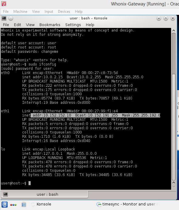 Dane połączenia sieciowego uzyskane za pomocą polecenia sudo ifconfig
