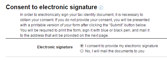 consent to electronic signature on amazon kdp