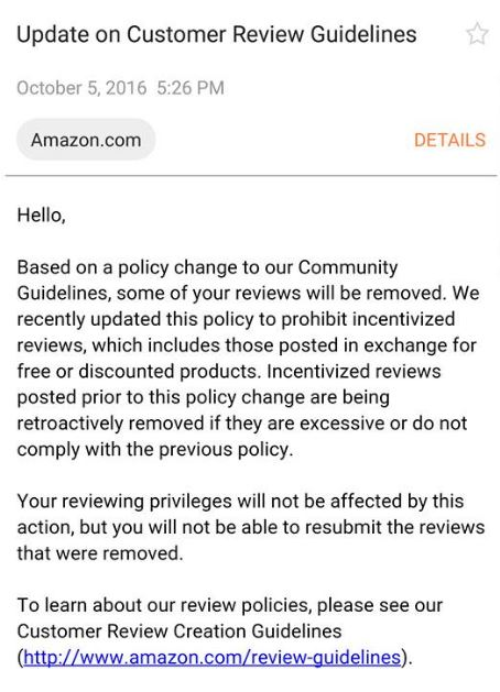 Amazon review being removed
