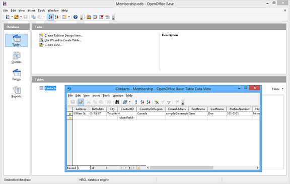Open Office Base database screenshot, access