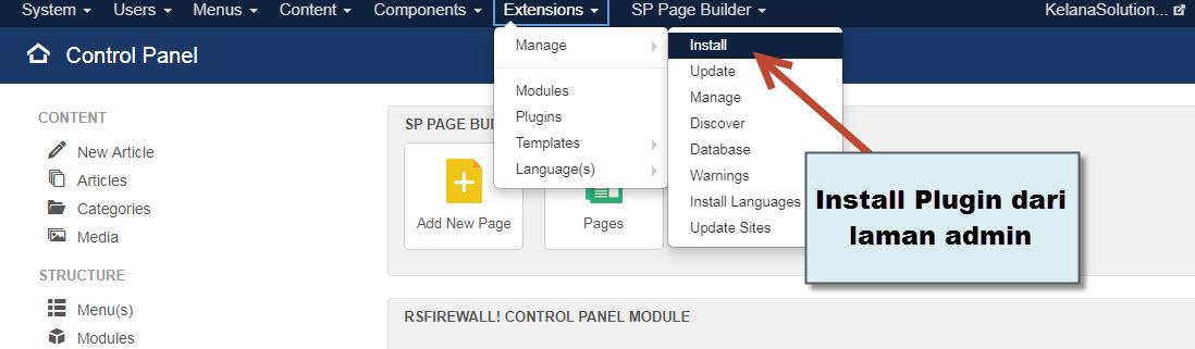 Panduan AMP Pada Joomla CMS - Instalasi Plugin Joomla