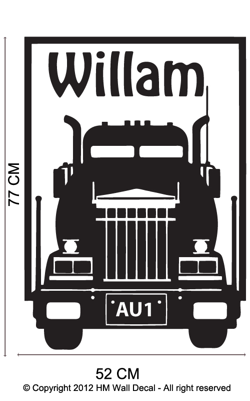 Truck and personalised name wall sticker