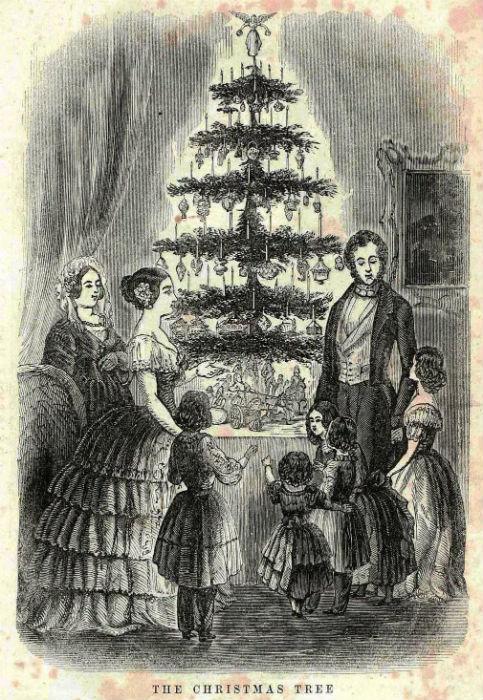 Королева Виктория и её муж Альберт с детьми у рождественской ёлки. Гравюра из американского альманаха «Godey's Lady's Book», 1850
