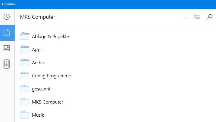 Zugriff auf den Cloud-Speicher Dropbox durch die Windows-App des Anbieters.