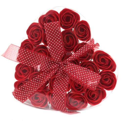 set of 24 soap flowers - red roses