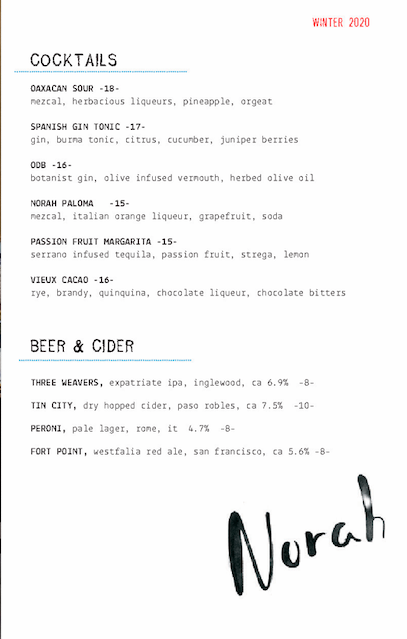 Norah Cocktail Menu