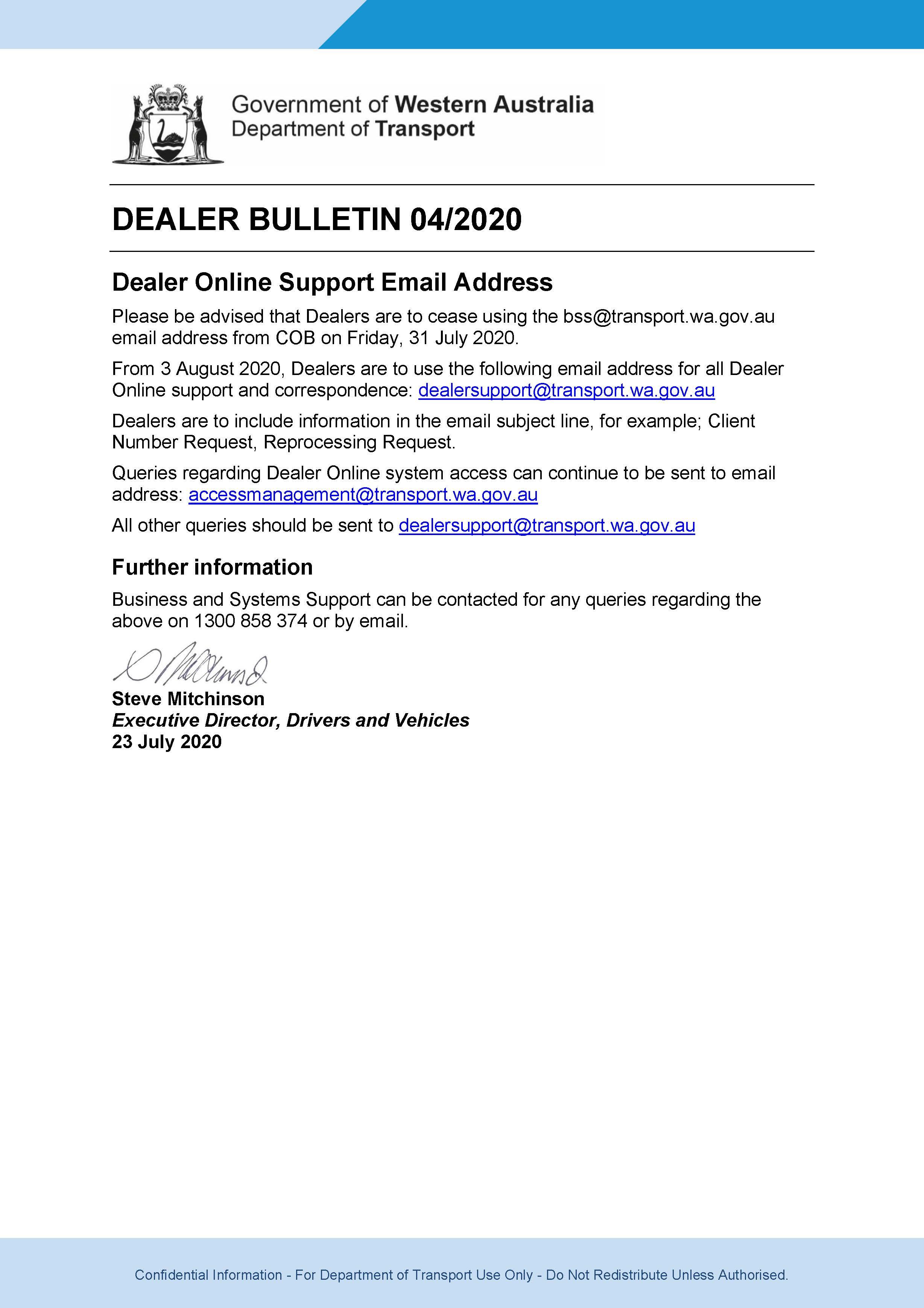 DoT Dealer Bulletin - July 2020