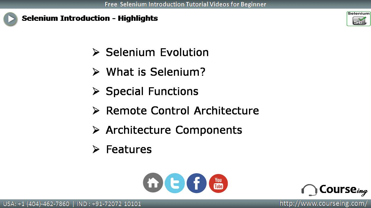 Free Selenium Introduction Highlights