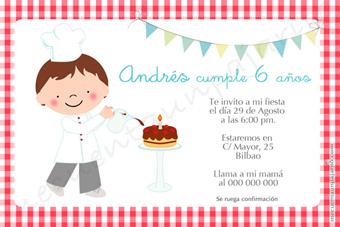 Invitación de cumpleaños del cocinero