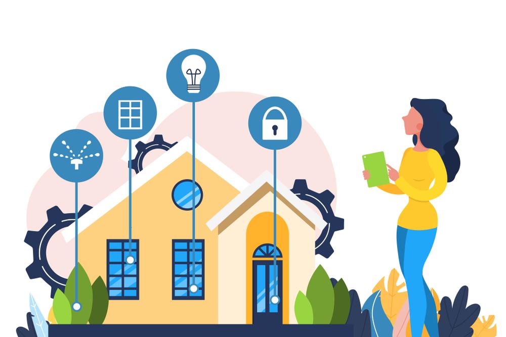 Ilustrasi Seorang Wanita Sedang Mengoperasikan Alat-alat Rumah Tangga Menggunakan Smartphone