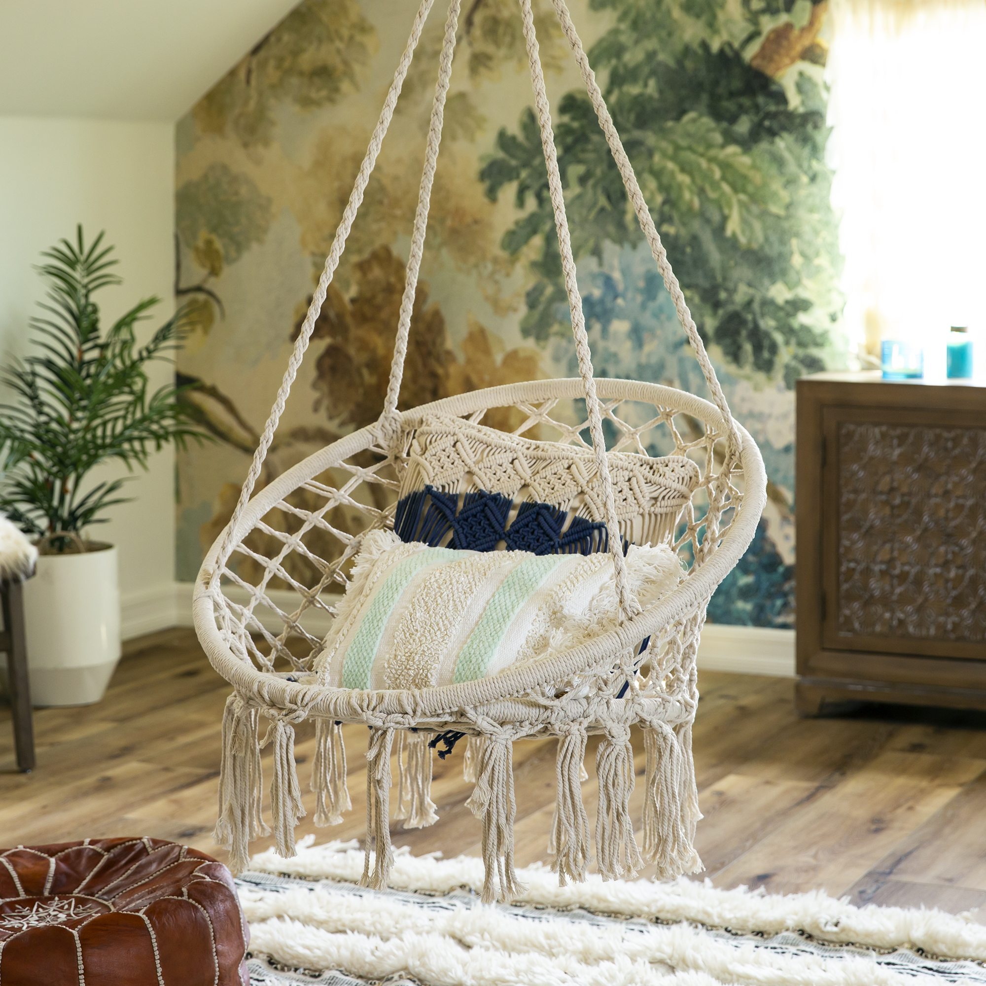 BCP-Handwoven-Cotton-Macrame-Hammock-Hanging-Chair-Swing-w-Backrest thumbnail 9