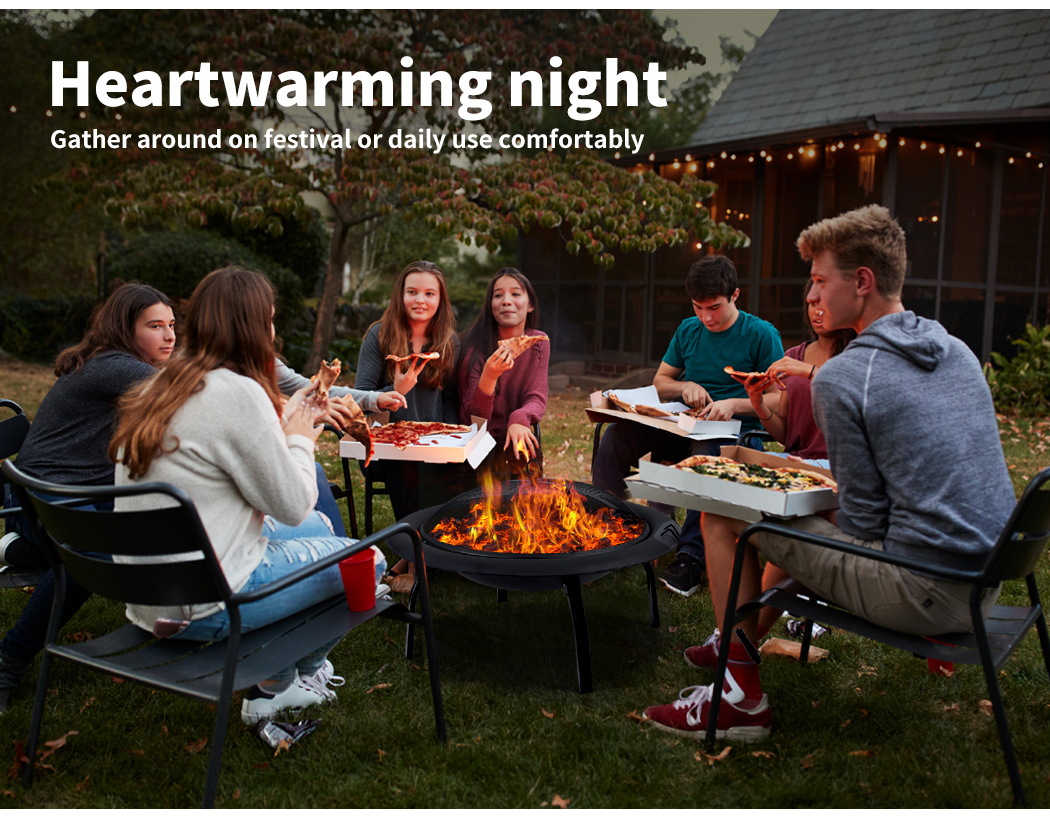 """thumbnail 13 - 22"""" 30"""" Fire Pit BBQ Grill Pits Outdoor Portable Fireplace Garden Patio Heater"""