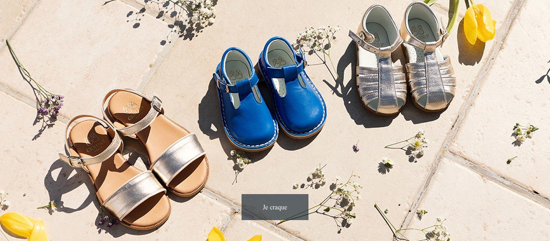 photo collection capsule cendry x sarenza chaussures enfants modèles exclusifs camille gold louise bleu jeanne gold été 2019