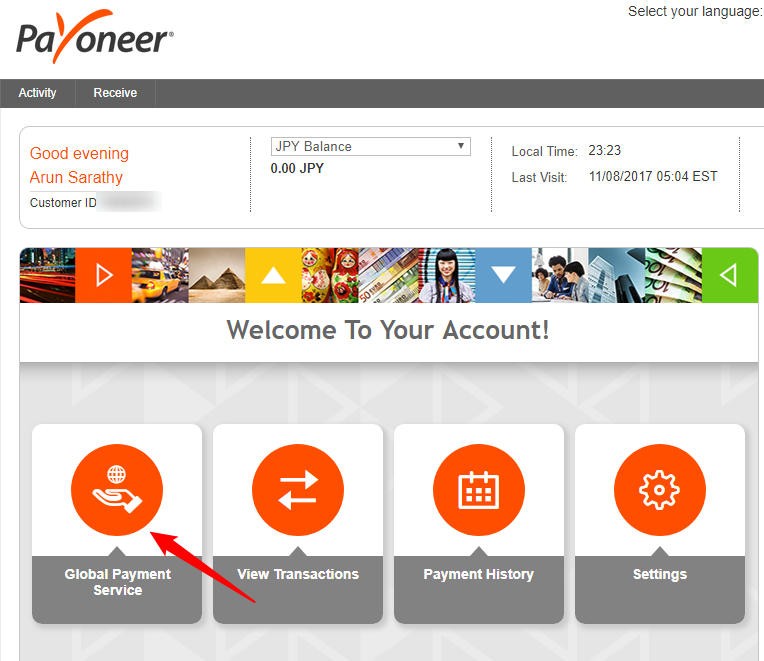 Global payment service option in Payoneer