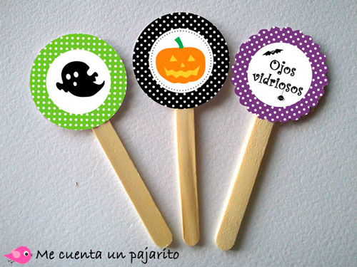 kit fiesta Halloween, invitaciones, etiquetas, place cards, chocolatina, toppers, bruja, vampiro, murciélago, fantasma, araña, calabaza