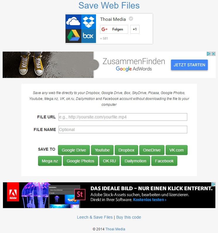 Auf der Seite thoaimedia.com gibt es kostenlosen Datei-Transfer von einer Web-Quelle zu einem Cloud-Speicher.