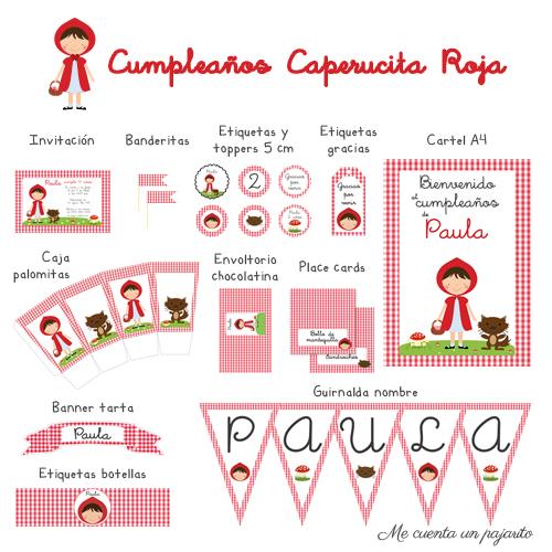 kit cumpleaños Caperucita Roja, invitaciones, toppers, etiqueta gracias por venir, cartel bienvenida, banderitas, etiquetas botellas, caja palomitas, envoltorio chocolatina, place cards, banner tarta, guirnalda nombre