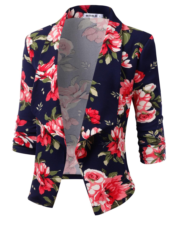 Doublju Womens Casual Work 3//4 Sleeve Open Front Blazer Jacket With Plus Size