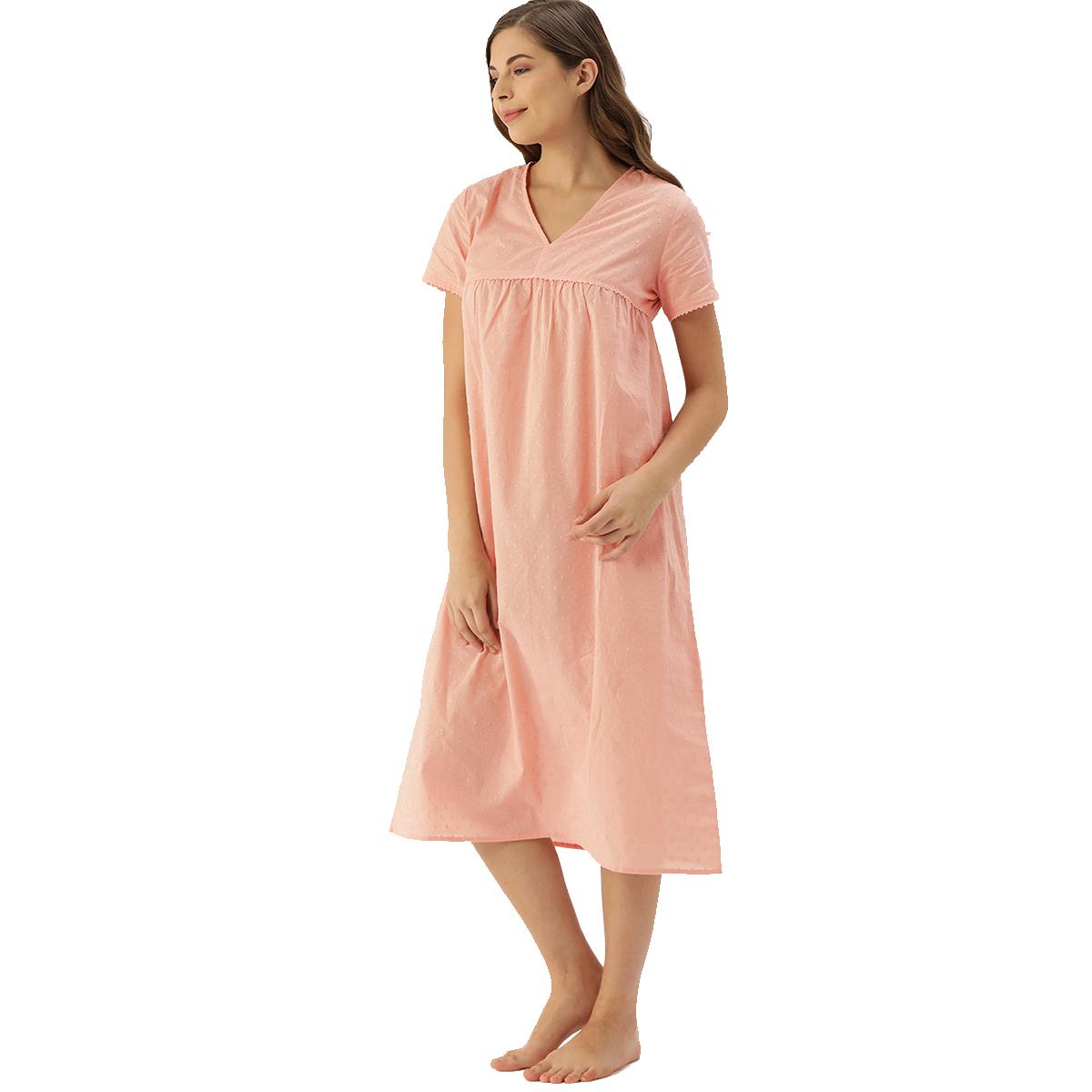 Slumber Jill Carron Rose Pink Dobby Self Design Night Dress