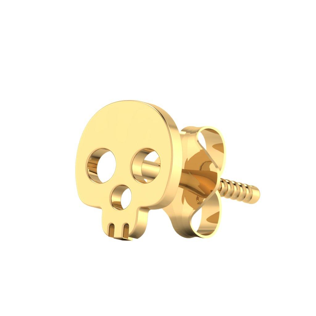The Skull Gold Mens Stud