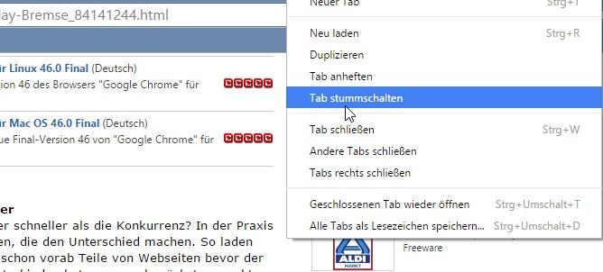 Seit der Version 46 bietet Google Chrome die Möglichkeit, den Sound von Registerkarten stummzuschalten.