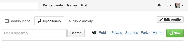 GitHub new repo button