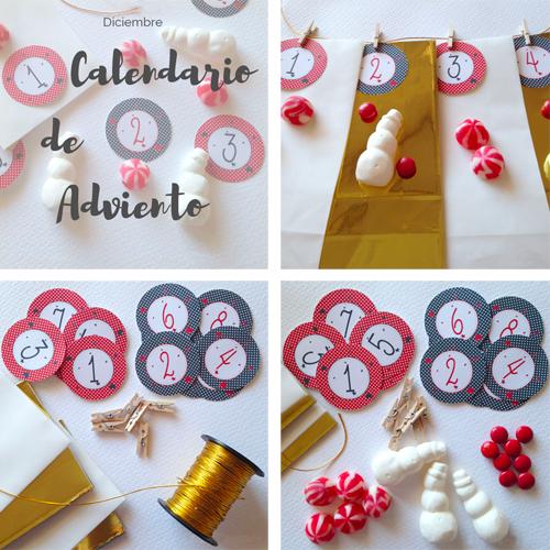 Calendario de adviento, bolsas doradas y blancas y etiquetas con números y estrellas