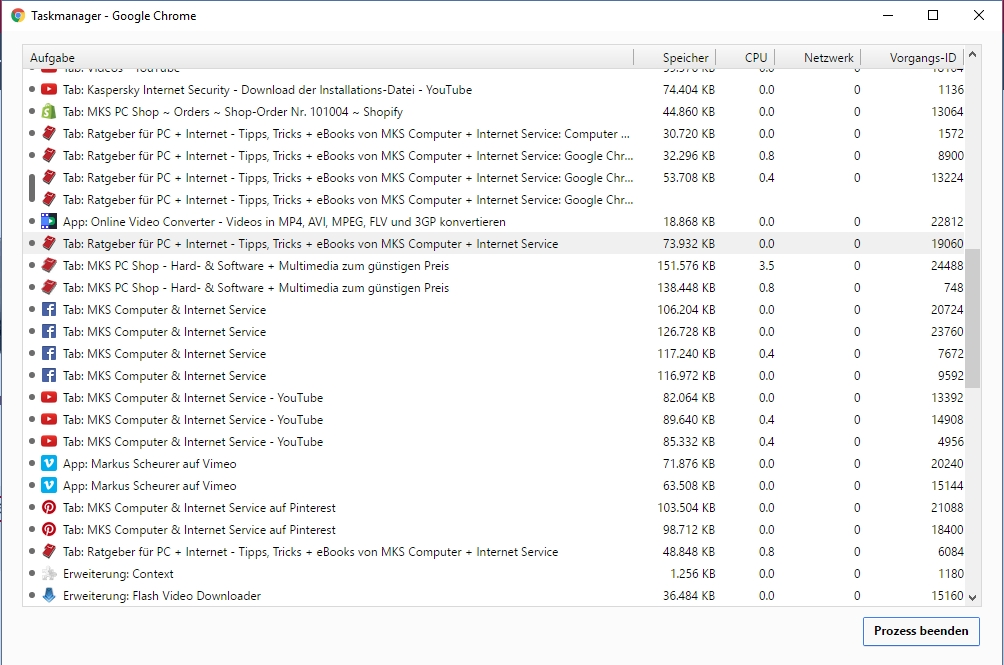 Im Task Manager von Google Chrome kann man sich den Speicherverbrauch anzeigen lassen.