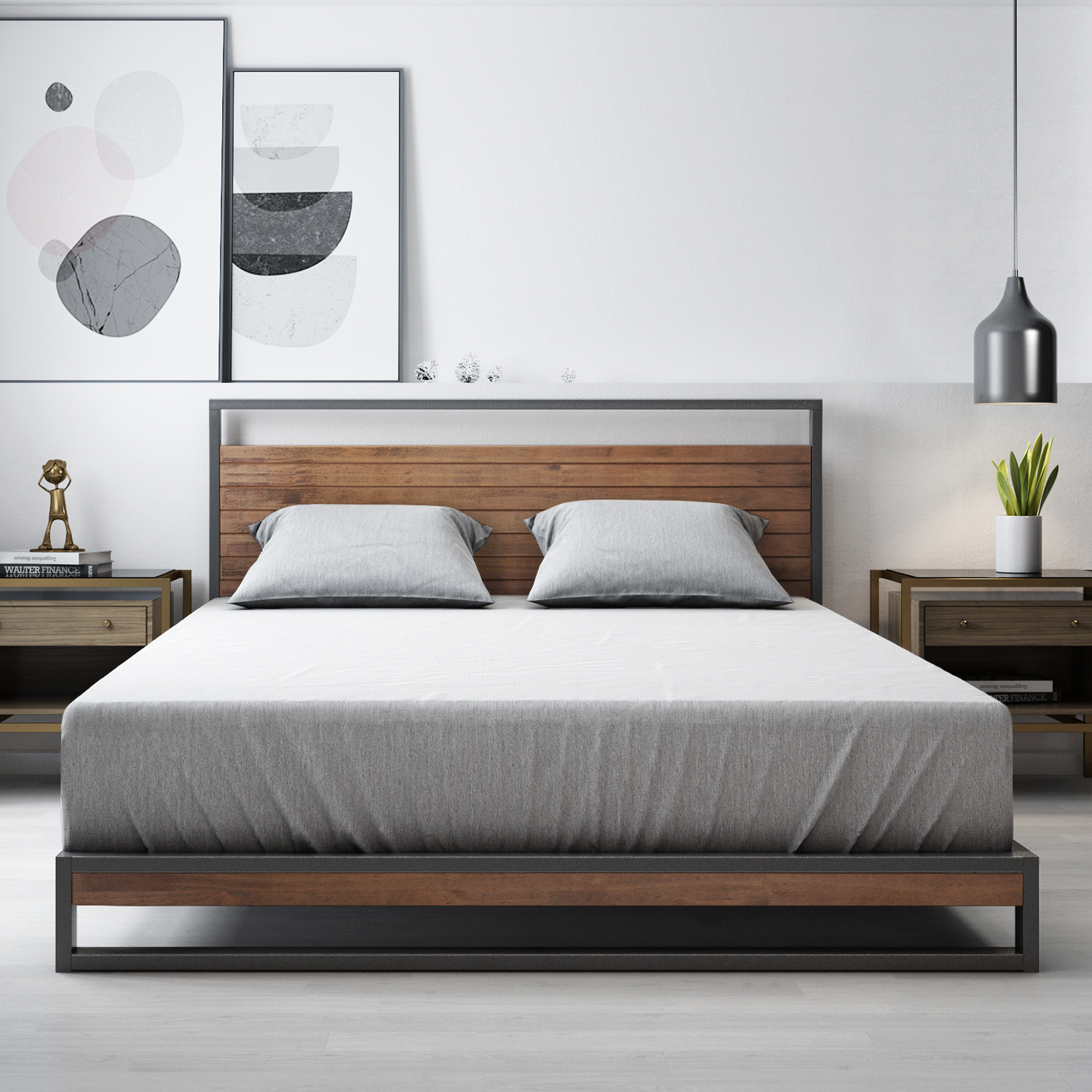 Zinus-Ironline-Metal-Wood-Bed-Frame-Queen-Single-Double-King-Base-Mattress-Pine