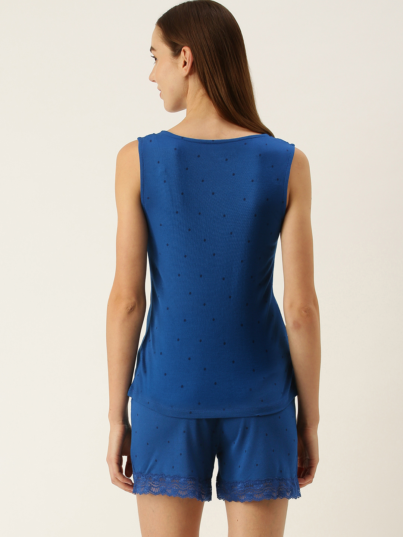 Slumber Jill Polka print lace blue Short set