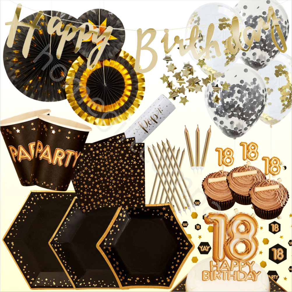 Black & Gold Foil 18th Birthday Party Supplies Disposable
