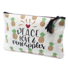 zip pouch - pineapples