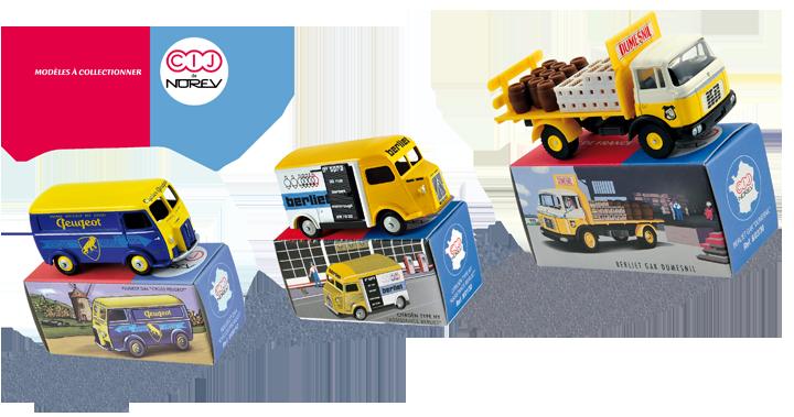 Modèles CIJ de Norev datant de 2012 et pour lesquels j'ai réalisé les décorations des miniatures tandis que les packagings sont l'oeuvre d'un tiers. Cliquez pour afficher en HD