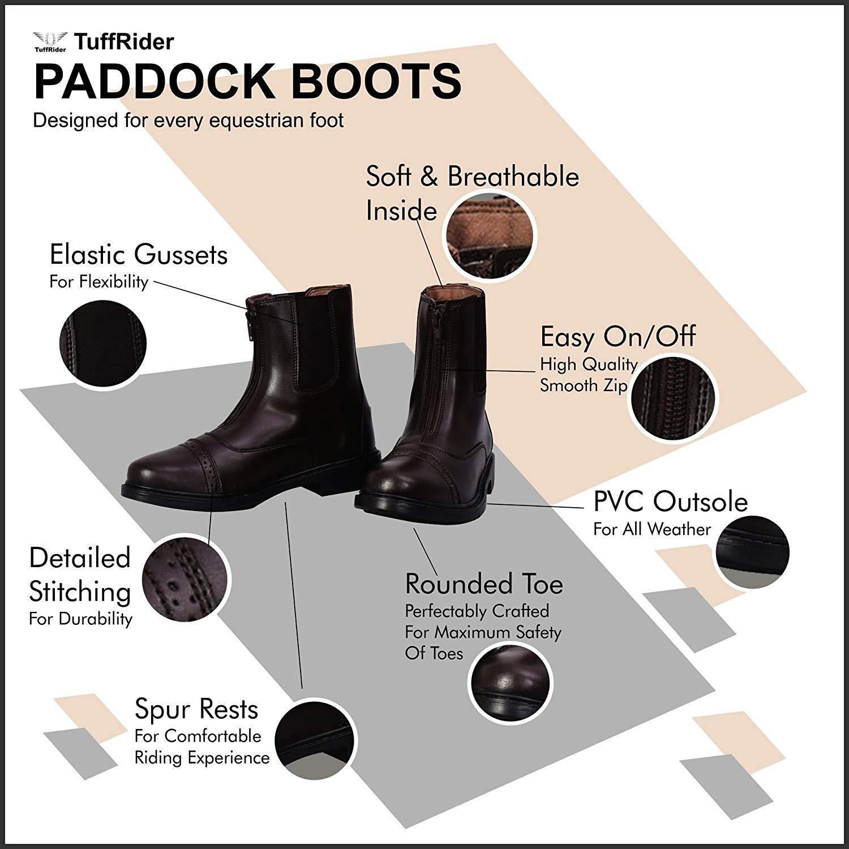 TuffRider Ladies Starter Front Zip Paddock Boots with FREE Assorted Stripe Sock