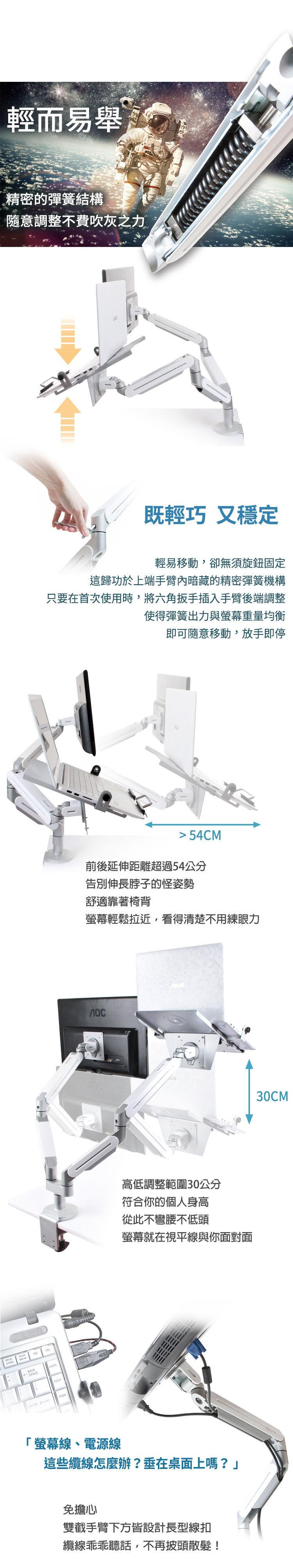 精巧彈簧臂設計,市面上最輕易調整的懸臂螢幕架,適用兩個螢幕,或一個螢幕一筆電