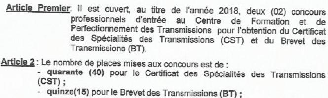 2018-2019 concourspolice-ci.net certificat des Specialites des transmissions (CST) Examens professionnel 2018-2019