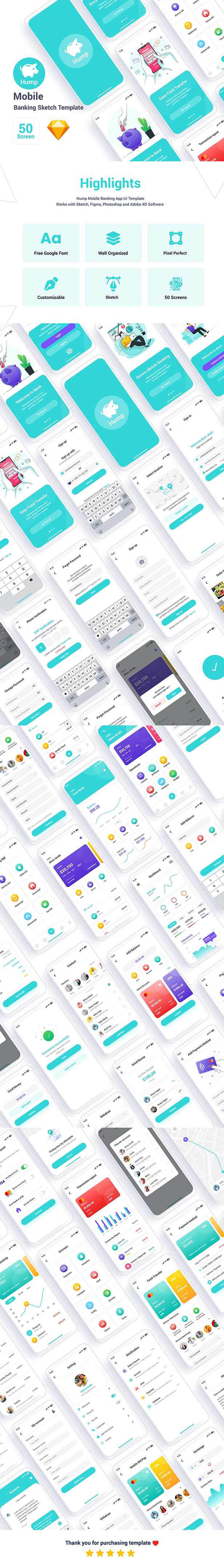 Hump – Mobile Banking Sketch Template - 1