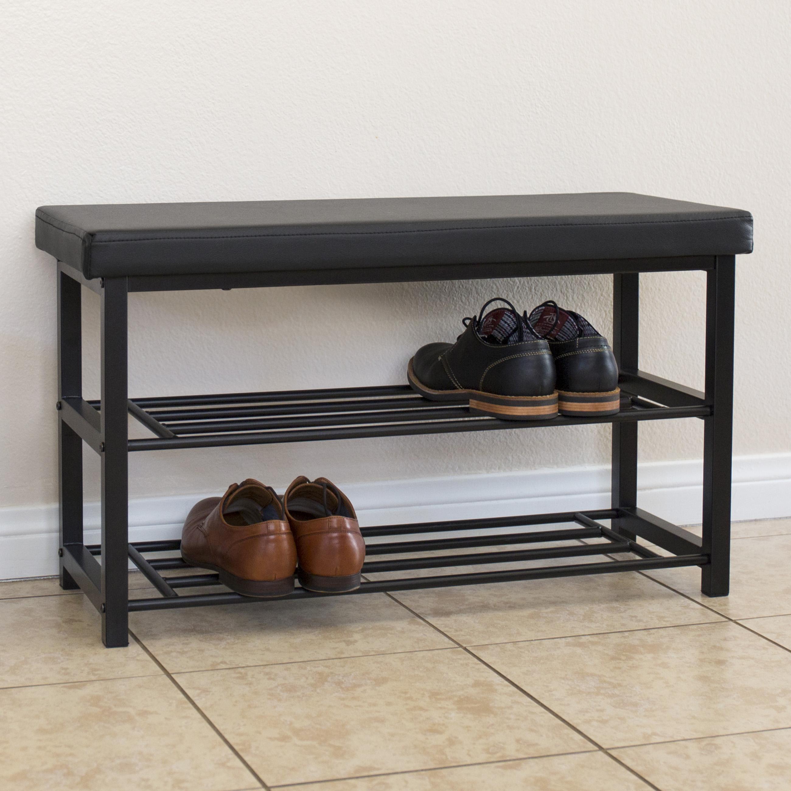 2 tier metal storage bench shoe rack organize w leather top black ebay. Black Bedroom Furniture Sets. Home Design Ideas