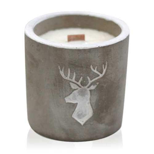 soy wax medium concrete candle - whiskey & woodsmoke